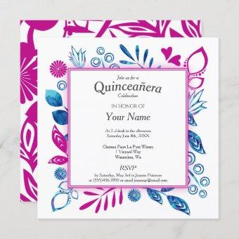 Crystal Blue and Hot Pink Quinceañera Invitation