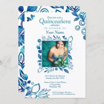Crystal Blue Pattern Quinceanera Invitation