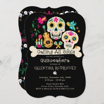 Day of the Dead Calling all Souls Quinceanera Invitation
