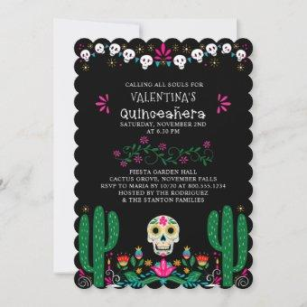 Day of the Dead Floral Skulls Quinceanera Invitation