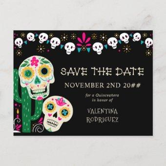 Day of the Dead Floral Sugar Skulls Save the Date Announcement Postcard