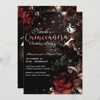 Day of the Dead Girl Red Black Quinceañera Party Invitation