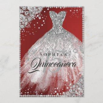 Diamond Lace Sparkle Gown Red Quinceanera Invitation