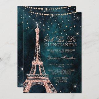 Eiffel tower rose gold glitter teal quinceanera invitation