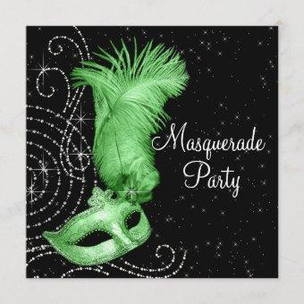Elegant Black and Lime Green Masquerade Party Invitation