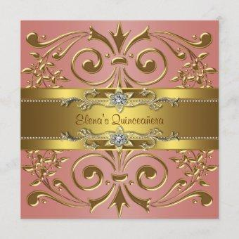 Elegant Coral and Gold Birthday Party Invitation