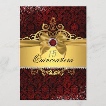 Elegant Gold Ruby Red Damask Quinceanera Invite