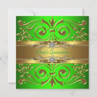 Elegant Lime Green and Gold Quinceanera Invitation