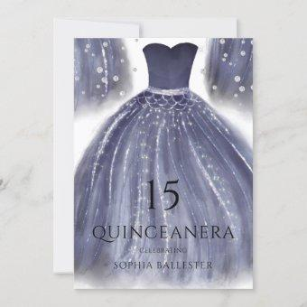 Elegant Navy Blue Quinceanera Dress Gown Party Invitation