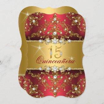 Elegant Pearl Damask Ruby Red Quinceanera Invitation