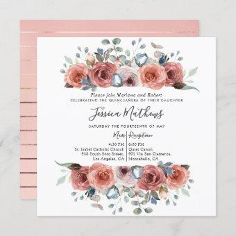 Elegant Quinceanera,  Blush and Dusty Blue Floral Invitation