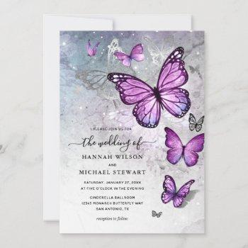 Elegant Silver and Purple Butterfly Wedding Invitation