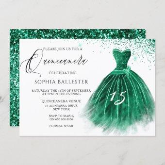 Elegant Teal Green Glitter Gown Quinceanera Party Invitation