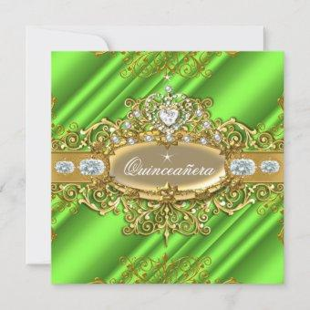 Elite Quinceanera Lime Green Silver Gold Party Invitation