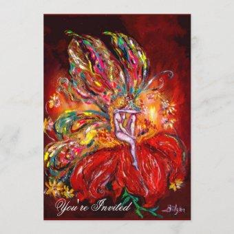 FAIRY IN RED  yellow  green Invitation