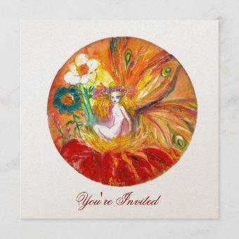 FAIRY OF THE FLOWERS champagne metallic red yellow Invitation