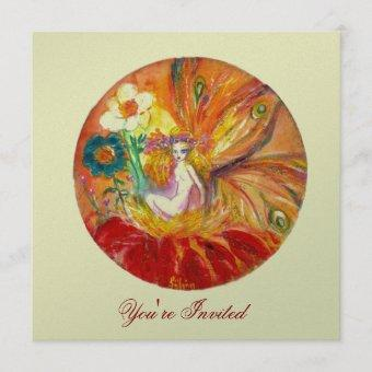 FAIRY OF THE FLOWERS silver metallic ,red  yellow Invitation