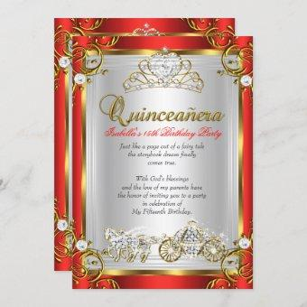 Fairytale Quinceanera 15th Birthday Red Gold Invitation