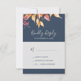 Fall Leaves | Navy Blue Simple RSVP Card