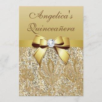 Faux Gold Sequins and Bow Quinceañera Invitation