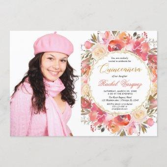 Floral coral pink gold garden Quinceanera photo Invitation