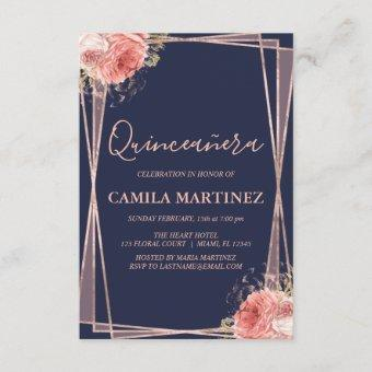 Floral Girly Rose Gold Blue Quinceanera Party Invitation