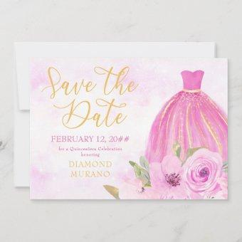 Floral Gold and Pink Princess Gown Save The Date