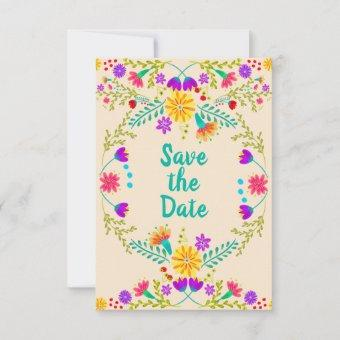 Floral Mexican Fiesta & Papel Picado - Champagne Save The Date