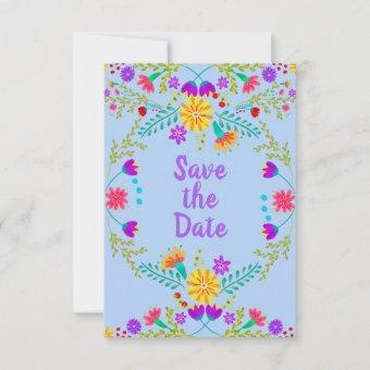 Floral Mexican Fiesta & Papel Picado - Light Blue Save The Date
