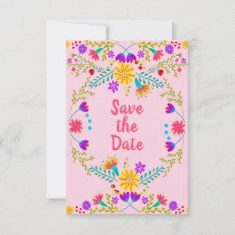 Floral Mexican Fiesta & Papel Picado - Pink Save The Date
