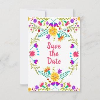Floral Mexican Fiesta & Papel Picado White Save The Date