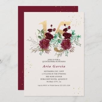 Floral Number 15 Burgundy Red and Gold Quinceanera Invitation