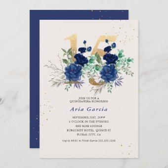 Floral Number 15 Royal Blue and Gold Quinceanera Invitation