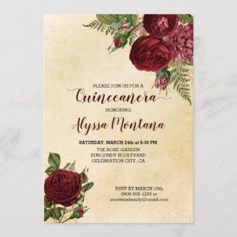 Floral Quinceanera Burgundy Red Roses on Vintage Invitation
