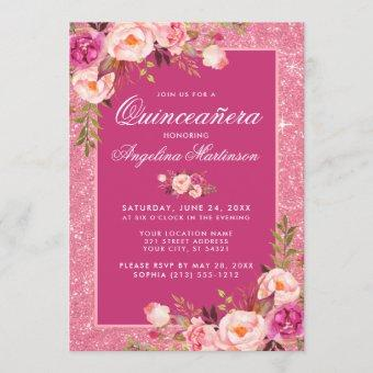 Floral Quinceanera Hot Pink Glitter Invitation