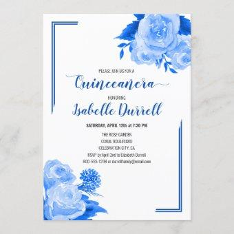 Floral Quinceanera Royal Blue Roses on White Invitation