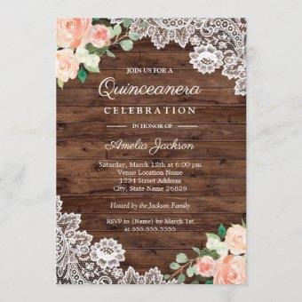 Floral Rustic Wood Lace Quinceanera Invitation