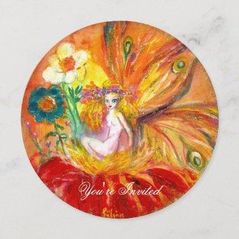 FLOWER FAIRY red pink green yellow gold sparkles Invitation