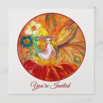 FLOWER FAIRY Red Yellow White Fantasy Summer Party Invitation