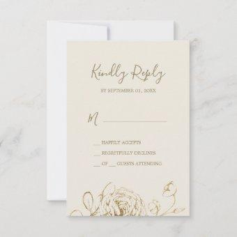 Gilded Floral | Cream Gold Simple RSVP Card