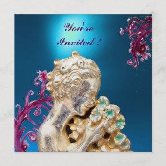 GIRL WITH FLOWERS ,Blue Sapphire Invitation