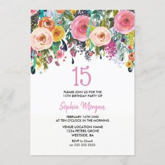Girls 15th Birthday Party Invite Pink Flowers