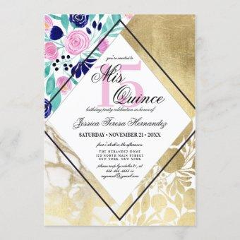 Girly Gold Marble Floral Watercolor Mis Quince Invitation