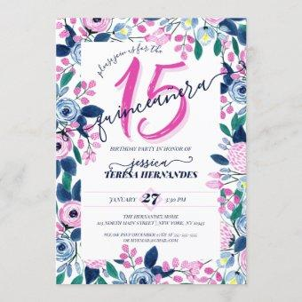 Girly Pink Navy Flowers Watercolor Quinceañera Invitation