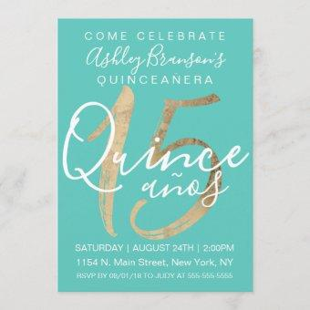 Girly Simple Turquoise Green Gold Foil Quinceañera Invitation