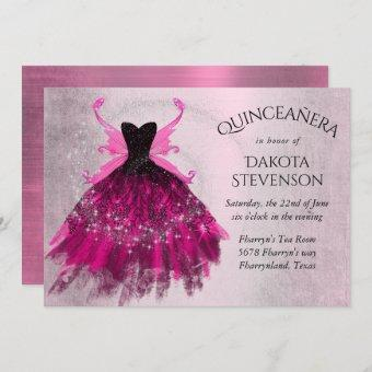 Glam Rock Iridescent Pink Fairy Gown | Quinceanera Invitation