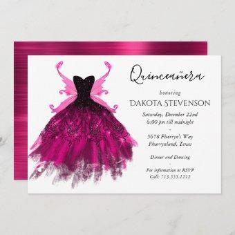 Glam Rock Pink Gown and Fairy Wings Quinceanera Invitation