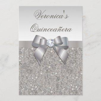 Glamorous Quinceañera Faux Silver Sequins and Bow Invitation