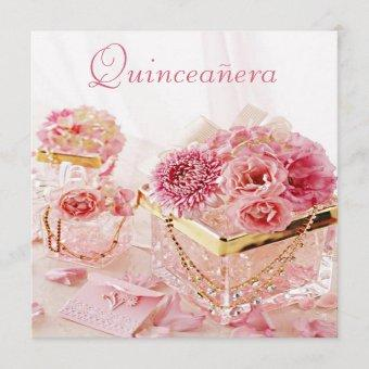 Glamour Jewels, Pink Flowers & Boxes Quinceanera Invitation
