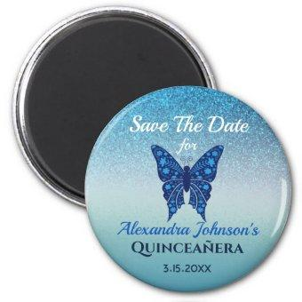 Glitter Blue Butterfly Quinceanera Save The Date Magnet